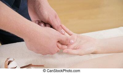 ontspanning, close-up, vinger, palm, mannelijke , salon.,...