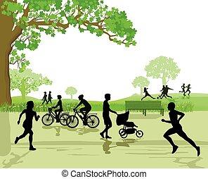 ontspanning, en, sporten, in het park
