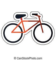 ontspanning, fiets, spotprent, vervoeren, pictogram