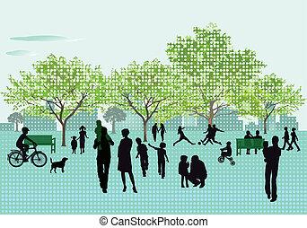 ontspanning, in het park