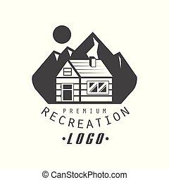 ontspanning, premie, kwaliteit, logo, ontwerp, ouderwetse , zwart wit, berg, exploratie, buitene avontuur, symbool, vector, illustratie, op, een, witte achtergrond