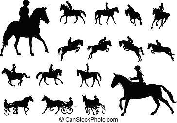 ontspanning, ruiter, collection., paarde, silhouettes, paardrijden, sportende