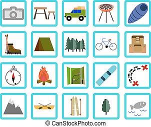 ontspanning, &, set., iconen, reizen, vakantie
