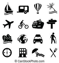 ontspanning, set, reizen, pictogram, vrije tijd