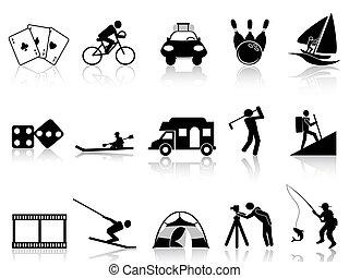 ontspanning, set, vrije tijd, iconen