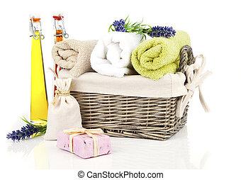 ontspanning, toiletries, witte , vrijstaand, achtergrond