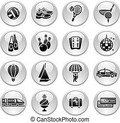 ontspanning, &, vakantie, pictogram, reizen