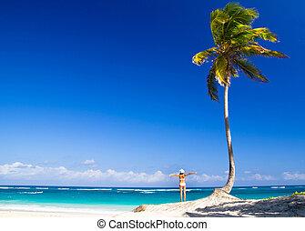 ontspant, vrouw, strand