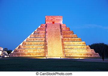 ontsteken merken, op, chichen itza, mexico, een, van, de, nieuw, zeven, wonderen, van, de wereld