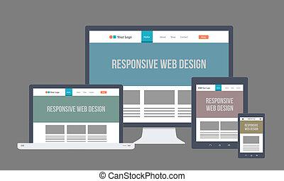 ontvankelijk, plat, ontwerp, web