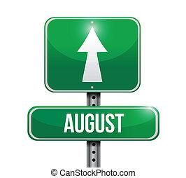 ontwerp, augustus, illustratie, meldingsbord