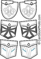ontwerp, back, zakken
