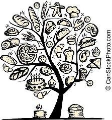 ontwerp, bakkerij, concept, boompje, jouw