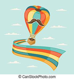 ontwerp, balloon, hipster, style., lucht