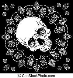 ontwerp, bandana, ornament, schedel