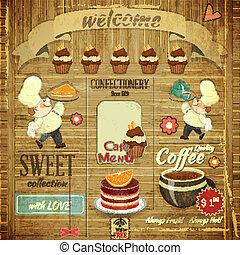 ontwerp, banketbakkerij, koffiehuis, retro, menu