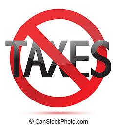 ontwerp, belastingen, illustratie, nee