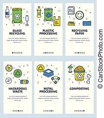 ontwerp, beweeglijk, menu, vector, schermen, lineair, kunst, app, website, afval, bouwterrein, banieren, web, plat, moderne, template., onboarding, illustration., development., recycling.
