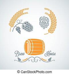 ontwerp, bier, etiketten, set