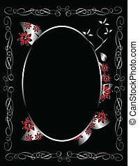 ontwerp, black , kamer, gotisch, floral, achtergrond, zilver...