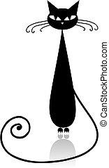 ontwerp, black , silhouette, jouw, kat