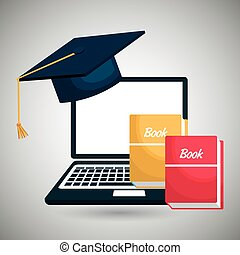 ontwerp, boekjes , computer, vrijstaand, pictogram