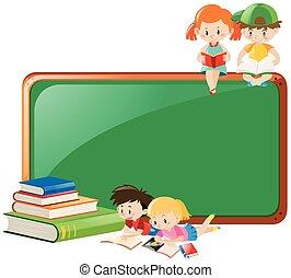 ontwerp, boekjes , grens, lezende , kinderen