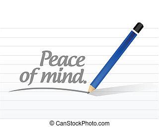 ontwerp, boodschap, vrede, verstand, illustratie