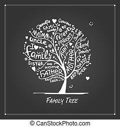 ontwerp, boompje, gezin, jouw, schets