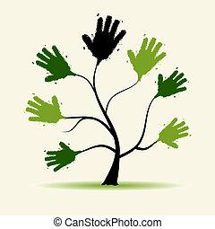 ontwerp, boompje, jouw, illustratie, handen