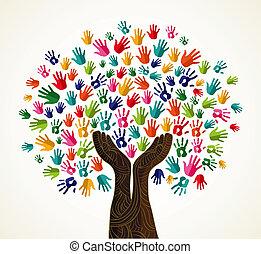 ontwerp, boompje, kleurrijke, solidariteit