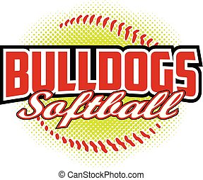 ontwerp, bulldogs, softbal