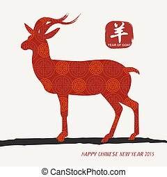 ontwerp, chinees, oosters, jaar, 2015, nieuw, chêvre
