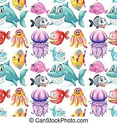 ontwerp, dieren, seamless, zee, achtergrond
