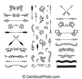 ontwerp, elements., calligraphic
