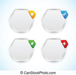ontwerp, elements., zeshoeken