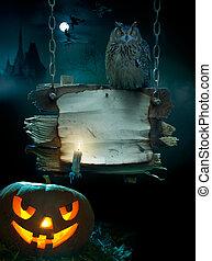 ontwerp, halloween, achtergrond, feestje