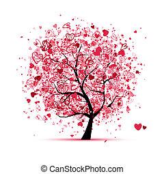 ontwerp, hartjes, boompje, jouw, valentijn