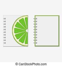 ontwerp, helder, aantekenboekje, dekking, kalk