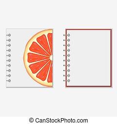ontwerp, helder, grapefruit, dekking, aantekenboekje