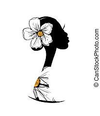 ontwerp, hoofd, silhouette, jouw, vrouwlijk