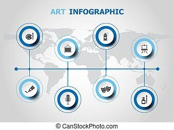 ontwerp, infographic, kunst, iconen