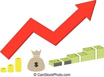 ontwerp, inkomen, web, concept, achtergrond., financieel, style., pictogram, verhogen, witte , jouw, teken., strategie, succes, bouwterrein, inkomsten, ui., geld, groei, symbool., logo, app, plat