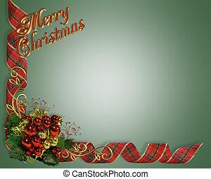 ontwerp, kerstmis, grens, linten
