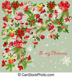 ontwerp, kerstmis kaart, groet