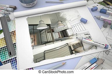 ontwerp, keuken