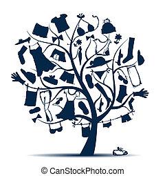 ontwerp, kleedt boom, kleerkast, jouw
