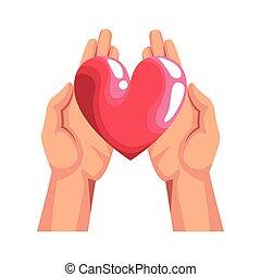ontwerp, kleurrijke, hart, pictogram, handen
