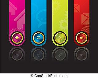 ontwerp, kleurrijke, wesbite, mal