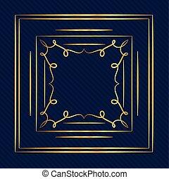 ontwerp, kunst, goud, achtergrond, ornament, deco, blauwe , vector, frame